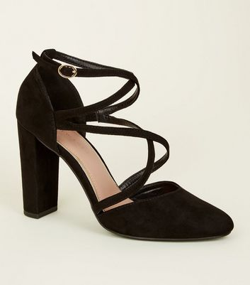 Black Suedette Cross-Over Strappy Block Heels