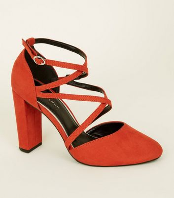 Orange Suedette Cross-Over Strappy Block Heels