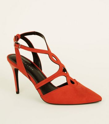 Orange Suedette Cut-Out Front Stilettos