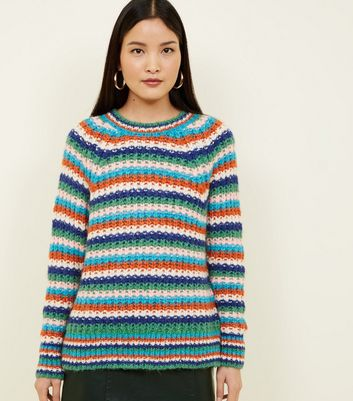 Multicoloured Stripe Chunky Knit Raglan Sleeve Jumper
