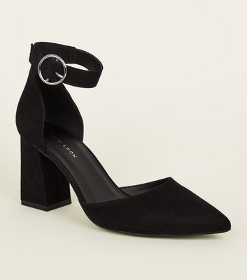 Black Suedette Buckle Ankle Strap Block Heels