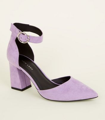 Lilac Suedette Buckle Ankle Strap Block Heels
