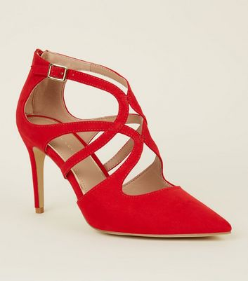 Red Suedette Pointed Toe Caged Stilettos