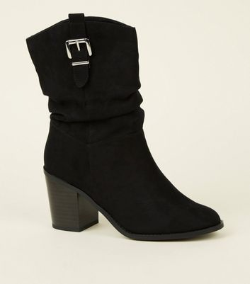 Black Suedette Buckle Side Western Calf Boots by New Look