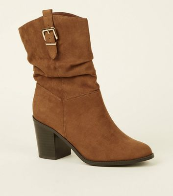 Tan Suedette Buckle Side Western Calf Boots