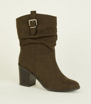 Khaki Suedette Buckle Side Western Calf Boots