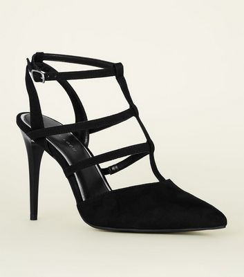 Black Suedette Caged Stiletto Heels