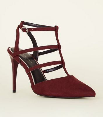 Dark Red Suedette Caged Stiletto Heels