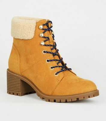 Mustard Block Heel Teddy Cuff Lace Up Boots