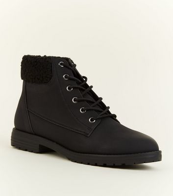 Black Teddy Cuff Flat Lace Up Boots