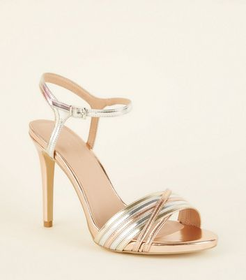 Wide Fit Multicoloured Metallic Strappy Stiletto Heels