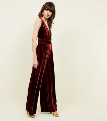 Red Stripe Velvet Wide Leg Jumpsuit