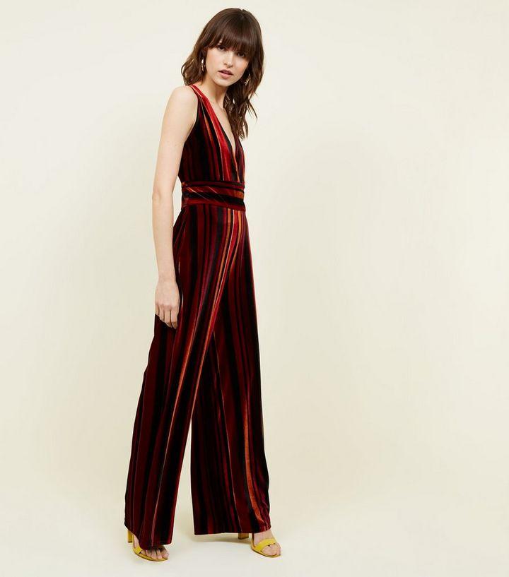 e7a3c9e9e77 Red Stripe Velvet Wide Leg Jumpsuit