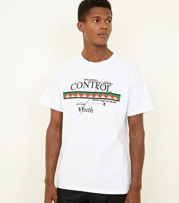 White Control Slogan Graphic Print T-Shirt