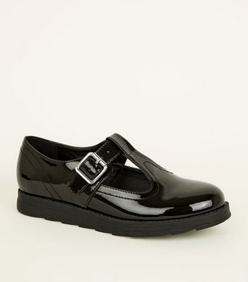 Girls Black Patent T-Bar Buckle Shoes