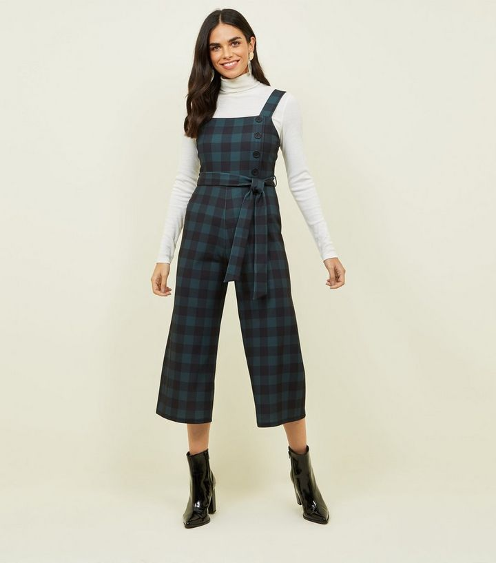 b40b80ea9399 Green Check Button Side Cropped Jumpsuit