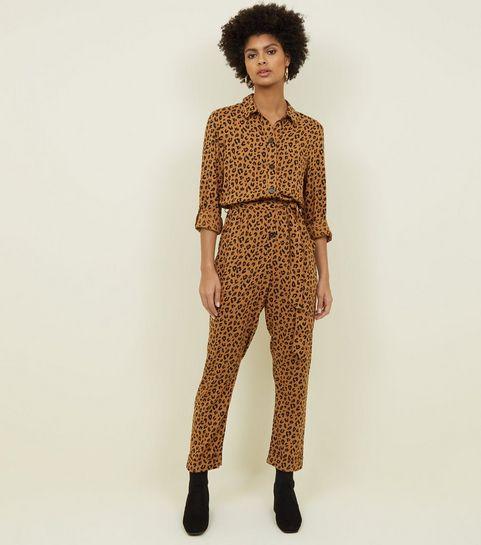 92c6e762eca1 ... Brown Leopard Print Button Front Jumpsuit ...