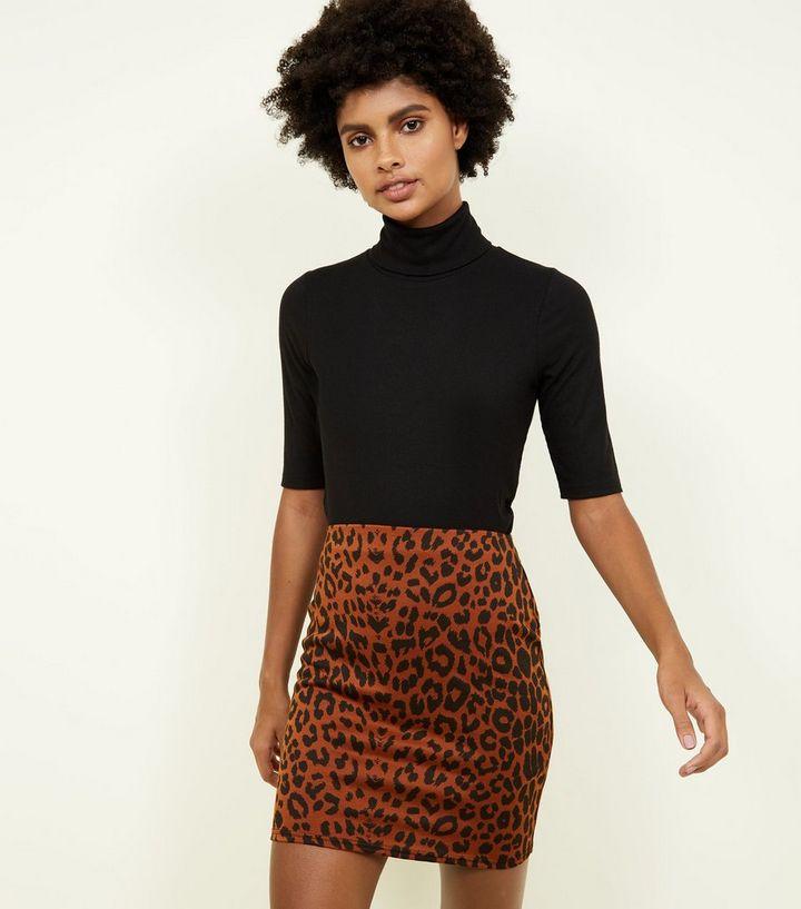 3c57d43fe8 Rust Leopard Print Mini Tube Skirt   New Look