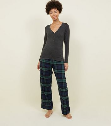 Dark Green Metallic Check Pyjama Bottoms