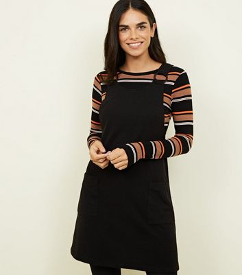 Black Cross Hatch Round Buckle Pinafore Dress