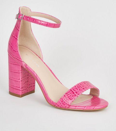 024f1e6dd2f ... Bright Pink Faux Croc Block Heel Sandals ...
