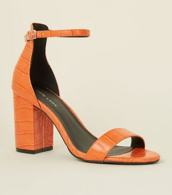 Orange Faux Croc Block Heel Sandals