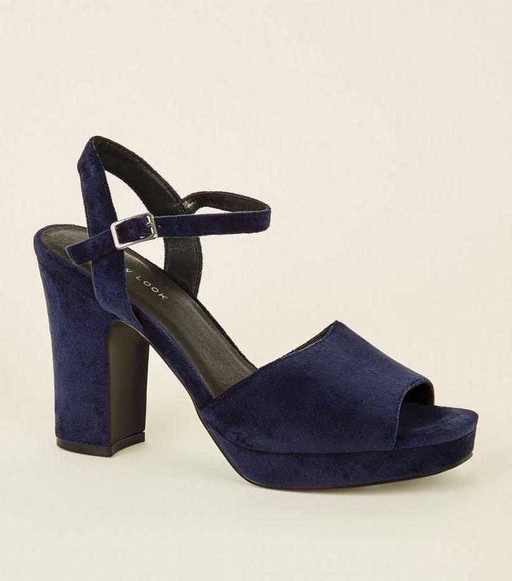 a08f3d5df07f Navy Velvet Square Toe Platform Heels