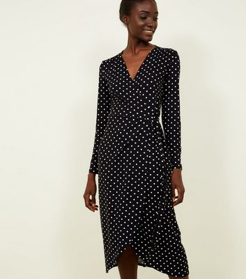 Black Polka Dot Soft Touch Midi Wrap Dress