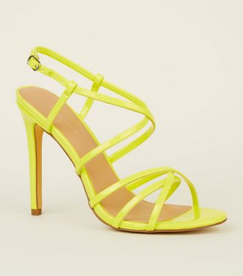 Light Green Neon Strappy Stiletto Sandals