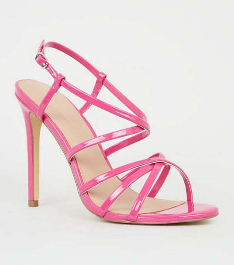a87cfd278f34 ... Bright Pink Neon Strappy Stiletto Sandals ...