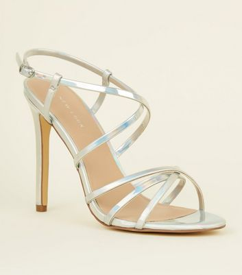 Silver Holographic Strappy Stiletto Sandals