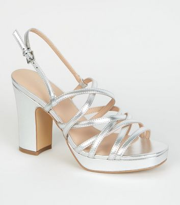 Silver Metallic Strappy Platform Sandals