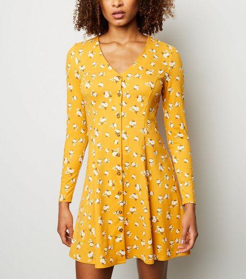 Yellow Fl Print Soft Touch On Through Dress