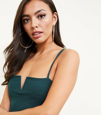 Dark Green Notched Neck Bodysuit