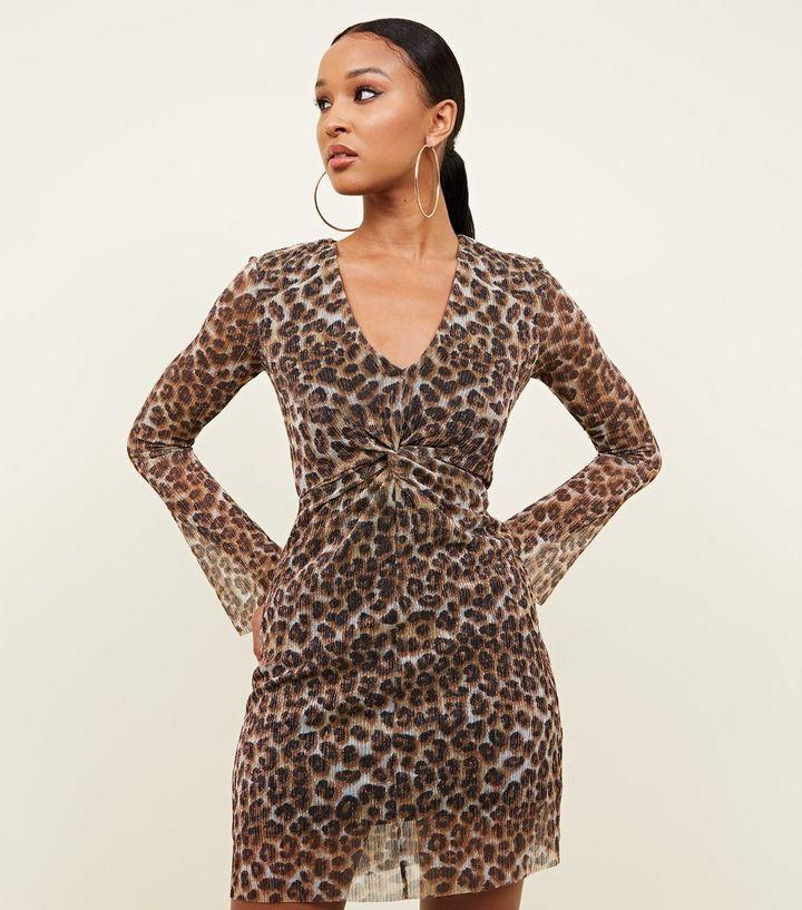 Brown Leopard Print Plissé Glitter Twist Front Dress  867a18578