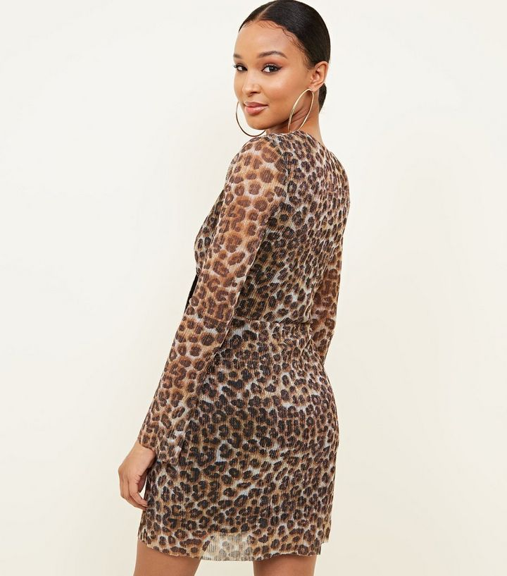 ... Brown Leopard Print Plissé Glitter Twist Front Dress. ×. ×. ×. Shop the  look 7f52467e8