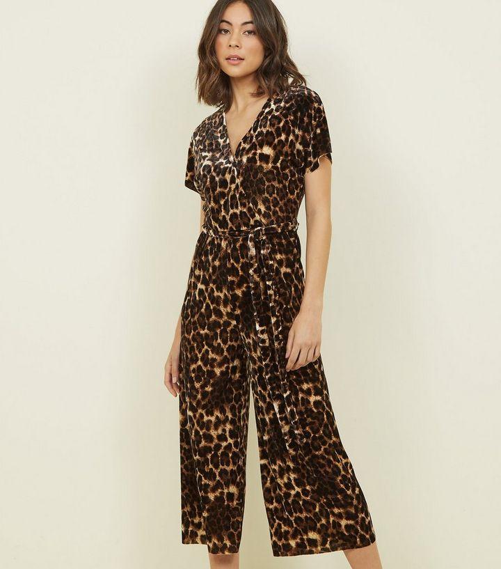 695c245acc Brown Leopard Print Velvet Wrap Jumpsuit