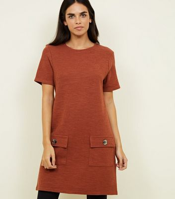 Tan Bouclé Pocket Front Tunic Dress