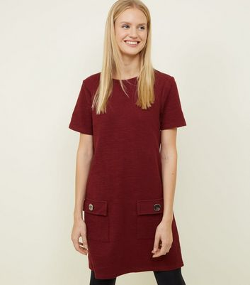 Plum Bouclé Pocket Front Tunic Dress
