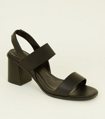 Black Leather Look And Elastic Strap Sandals by New Look