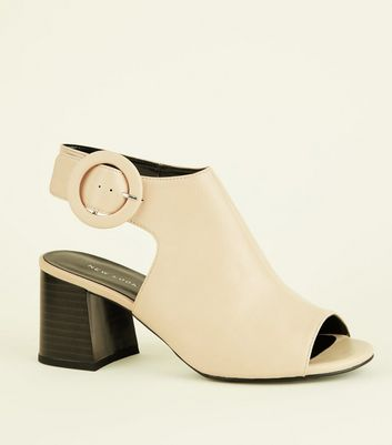 Cream Peep Toe Flare Heel Slingbacks