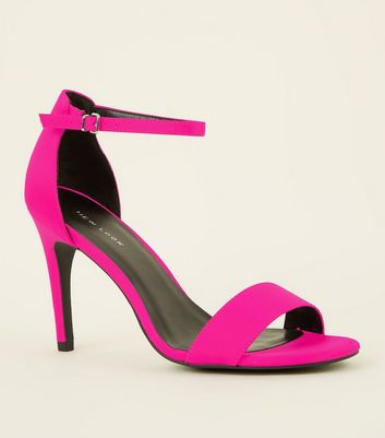 Bright Pink Satin Two Part Stiletto Sandals