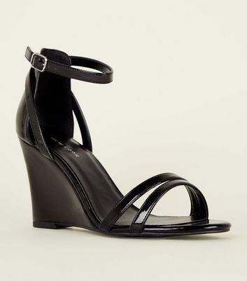 Black Patent Two Part Wedges