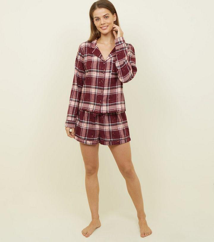 codes promo grossiste Garantie de satisfaction à 100% Ensemble pyjama bordeaux à carreaux écossais et étoiles pailletées Ajouter  à la Wishlist Supprimer de la Wishlist