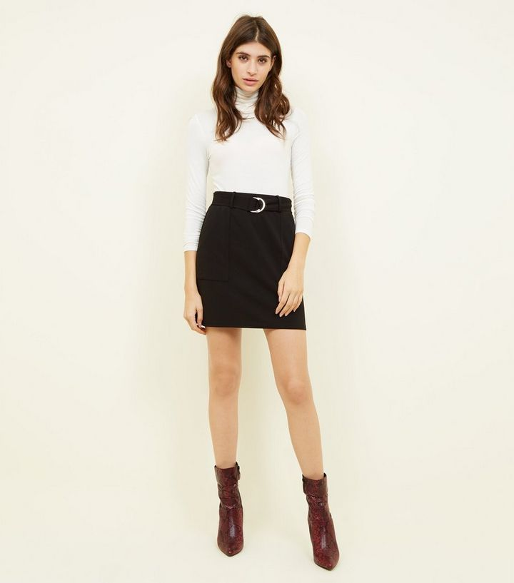 0d48bf675 Black Crepe D-Ring Mini Skirt | New Look