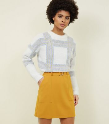 Mustard Crepe D-Ring Mini Skirt