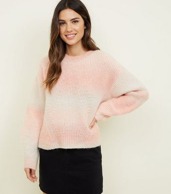 Pale Pink Space Dye Brushed Jumper