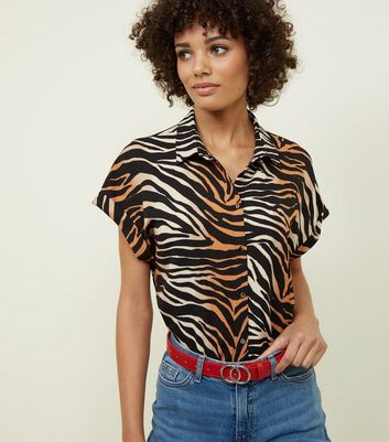 Black Ombré Tiger Print Short Sleeve Shirt