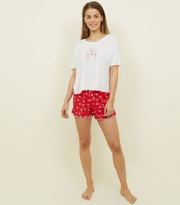 Red Flamingle Bells Frill Hem Pyjama Set