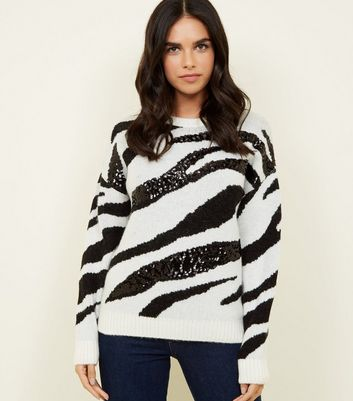 White Sequin Zebra Stripe Jumper